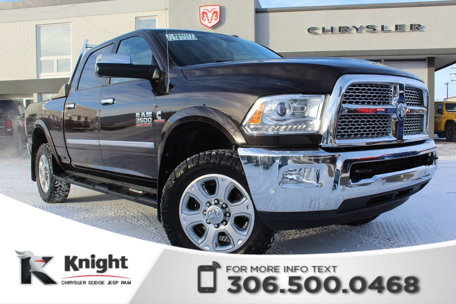 Knight Dodge Swift Current >> Pre-Owned 2016 Ram 3500 Laramie - Remote Start - Heated ...